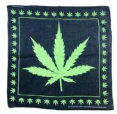 72 Units of Bandana-Black with Large Green Leaf [Small Leaf Border] - Bandanas