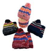 24 Units of Plush-Lined PomPom Knit Hat/Neck Warmer Combo [Stripes] - Winter Sets Scarves , Hats & Gloves