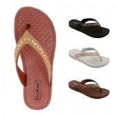 40 Units of Women Thong Sandal With Rhinestone And Bead Strap - Women's Flip Flops