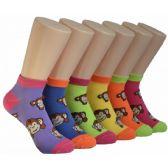 480 Units of Women's Cute Monkey Low Cut Ankle Socks - Womens Ankle Sock