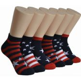 480 Units of Women's Stars And Stripes Low Cut Ankle Socks - Womens Ankle Sock