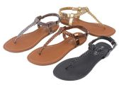 36 Units of Ladies Sandals In Black Bronze Gold Pewter - Women's Sandals