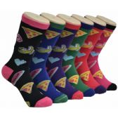 360 Units of Women's Food Print Crew Socks - Womens Crew Sock