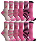 60 Units of Yacht & Smith Printed Breast Cancer Awareness Socks, Pink Ribbon Women Crew Socks - Breast Cancer Awareness Socks