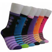 360 Units of Women's Argyle Crew Socks - Womens Crew Sock
