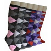240 Units of Ladies Argyle Knee High Socks - Womens Knee Highs