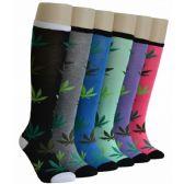 240 Units of Ladies Leaf Print Knee High Socks - Womens Knee Highs