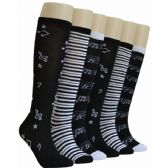 240 Units of Ladies Music Print Knee High Socks - Womens Knee Highs