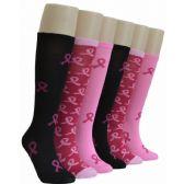 240 Units of Ladies Pink Ribbon Knee High Socks - Womens Knee Highs