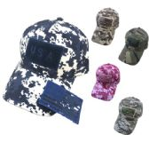 24 Units of Cotton Camo Hat with Detachable Patch - Baseball Caps & Snap Backs