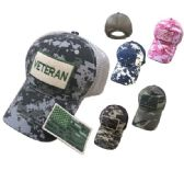 24 Units of Cotton Camo Mesh Hat with Detachable Patch Veteran - Baseball Caps & Snap Backs