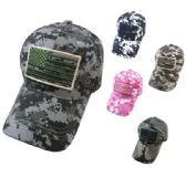 24 Units of Cotton Ripstop Camo Hat with Embroidered Flag - Baseball Caps & Snap Backs