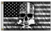 24 Units of American Flag with Skull Black And White - Signs & Flags