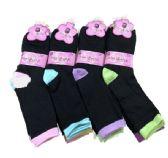 36 Units of Ladies Black With Color Heel And Toe Crew Sock - Womens Crew Sock