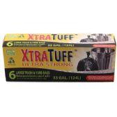 48 Units of 6 Count Xtratuff 33 Gallon Trash Bag Box - Garbage & Storage Bags