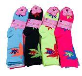 36 Units of Three Pair Ladies Crew Sock Colorful Leaves - Womens Crew Sock