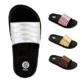 48 Units of Womens Metallic Band Slide - Women's Flip Flops