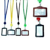 48 Units of BADGE HOLDER NECKLACE W/RETRACTABLE CORD - ID Holders