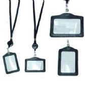 48 Units of BLACK ID HOLDER NECKLACE W/RETRACTABLE CORD - ID Holders