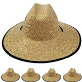 12 Units of Adults Large Black Brim Straw Hat - Sun Hats