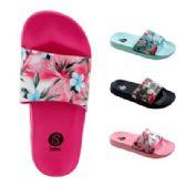 48 Units of Girls Tropical Flower Slide Sandals - Girls Flip Flops