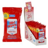 24 Units of 40 Count Antibacterial Wet Wipes - Hand Sanitizer