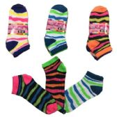 36 Units of Three Pair Ladies teens Anklets Jaggeed Stripes - Womens Ankle Sock