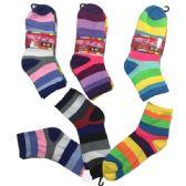 36 Units of Three Pair Ladies Teens Quarter Wide Stripes - Womens Ankle Sock