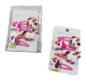 96 Units of Four Pack Snap Clip Hair Barrettes Unicorns - PonyTail Holders