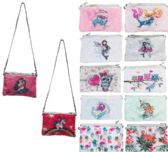 24 Units of Reversible Sequin Printed Clutch Purse with Strap - Shoulder Bags & Messenger Bags