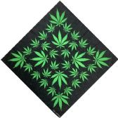 12 Units of Bandana Black With Green Leaves - Bandanas