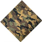 12 Units of Bandana Dark Green Black Tan And Brown Camo - Bandanas