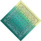 120 Units of Bandana Paisley Fade Green - Bandanas