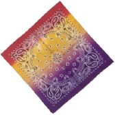 36 Units of Bandana Paisley Fade Purple Yellow And Red - Bandanas