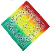 36 Units of Bandana Paisley Fade Red Yellow And Green - Bandanas