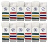 36 Units of Yacht & Smith Men's King Size Extra Long White Tube Socks With Stripes - Size 13-16 BULK PACK - Big And Tall Mens Tube Socks