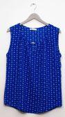 12 Units of Jewel Keyhole Sleeveless Blouse In Royal Blue - Womens Fashion Tops