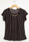 12 Units of Stripe Chain Necklace Cap Sleeve Top In Black - Womens Fashion Tops