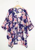 12 Units of Cuff Sleeve Floral Kimono Royal Blue - Womens Fashion Tops