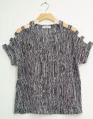 12 Units of Lattice Sleeve Pebble Knit Top Black - Womens Fashion Tops
