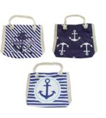 24 Units of Large Canvas Anchor Beach Bag w/ Rope Handles in 3 Assorted Prints - Tote Bags & Slings