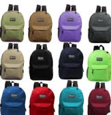"24 Units of 17"" Kids Basic Backpacks in 8 Assorted Colors - Backpacks 17"""