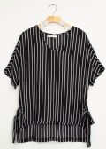 12 Units of Side Tie Stripe Blouse Black - Womens Fashion Tops