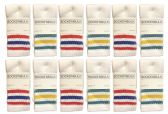 60 Units of Kids Size White With Stripes Assorted Tube Socks Size 6-8 - Boys Crew Sock