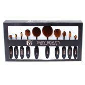 12 Units of 10 Piece Black Cosmetic Brush Set - Cosmetics
