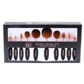 12 Units of 10 Piece Black Rose Gold Cosmetic Brush Set - Cosmetics