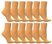 60 Units of Yacht & Smith Women's Fuzzy Snuggle Socks Light Yellow Size 9-11 Comfort Socks - Womens Fuzzy Socks