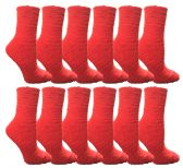 60 Units of Womens Fuzzy Snuggle Socks Red, Size 9-11 Comfort Socks - Womens Fuzzy Socks