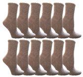 60 Units of Yacht & Smith Women's Fuzzy Snuggle Socks Gray, Size 9-11 Comfort Socks - Womens Fuzzy Socks