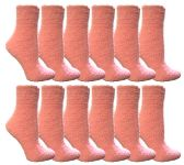 60 Units of Womens Fuzzy Snuggle Socks Pink, Size 9-11 Comfort Socks - Womens Fuzzy Socks